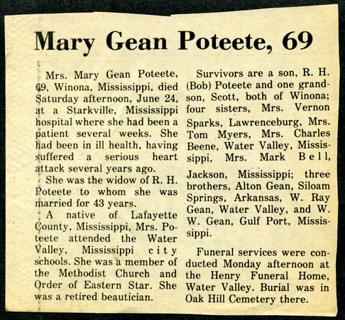 "Mary Elizabeth Gean<br /> Mrs. R. H. ""Homer"" Poteete<br /> June 1, 1909 - June 24, 1978<br /> <br /> The Anderson News  (Lawrenceburg KY)"