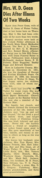 Roxie Ann Pears<br /> Mrs. Walter Diggs Gean<br /> December 18, 1881 - May 4, 1950<br /> <br /> North Mississippi Herald (Water Valley MS)