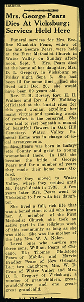 Evelina Elizabeth Hyde<br /> Mrs. George Pears<br /> December 20, 1858 - September 5, 1947<br /> <br /> North Mississippi Herald (Water Valley MS)