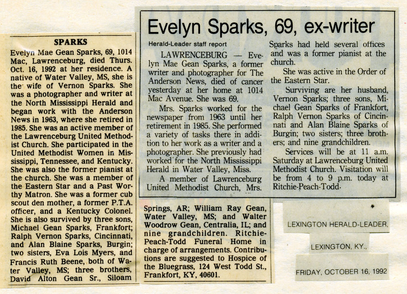 Evelyn Mae Gean<br /> Mrs. Charles O. Trenor<br /> Mrs. Vernon D. Sparks<br /> October 23, 1922 - October 16, 1992<br /> <br /> Herald Leader (Lexington KY)