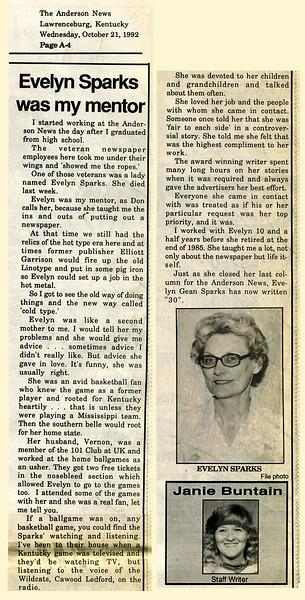Evelyn Mae Gean<br /> Mrs. Vernon D. Sparks<br /> October 23, 1922 - October 16, 1992<br /> <br /> The Anderson News October 21, 1992