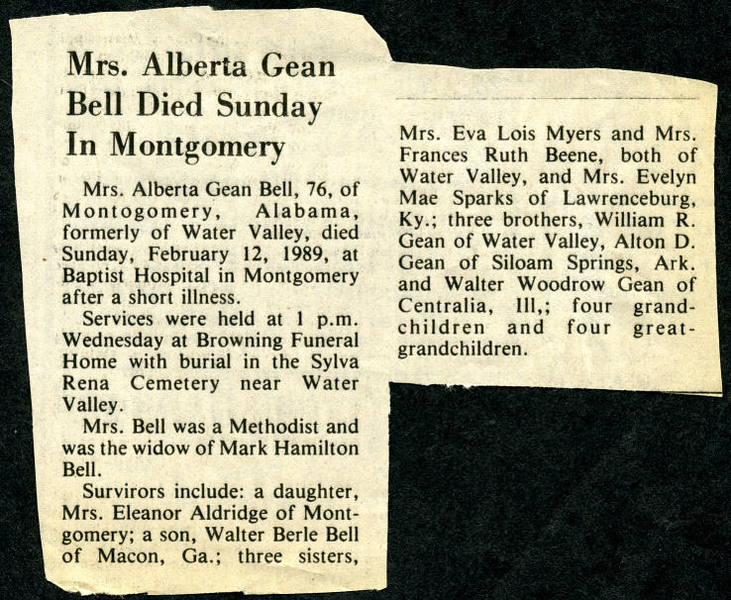 Alberta Gean<br /> Mrs. Mark H. Bell<br /> July 2, 1912 - February 12, 1989<br /> <br /> North Mississippi Herald (Water Valley MS)