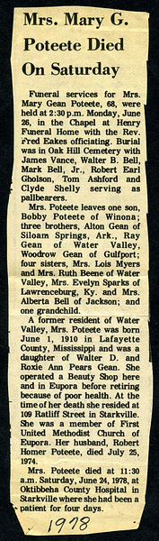 "Mary Elizabeth Gean<br /> Mrs. R. H. ""Homer"" Poteete<br /> June 1, 1909 - June 24, 1978<br /> <br /> North Mississippi Herald (Water Valley MS)"