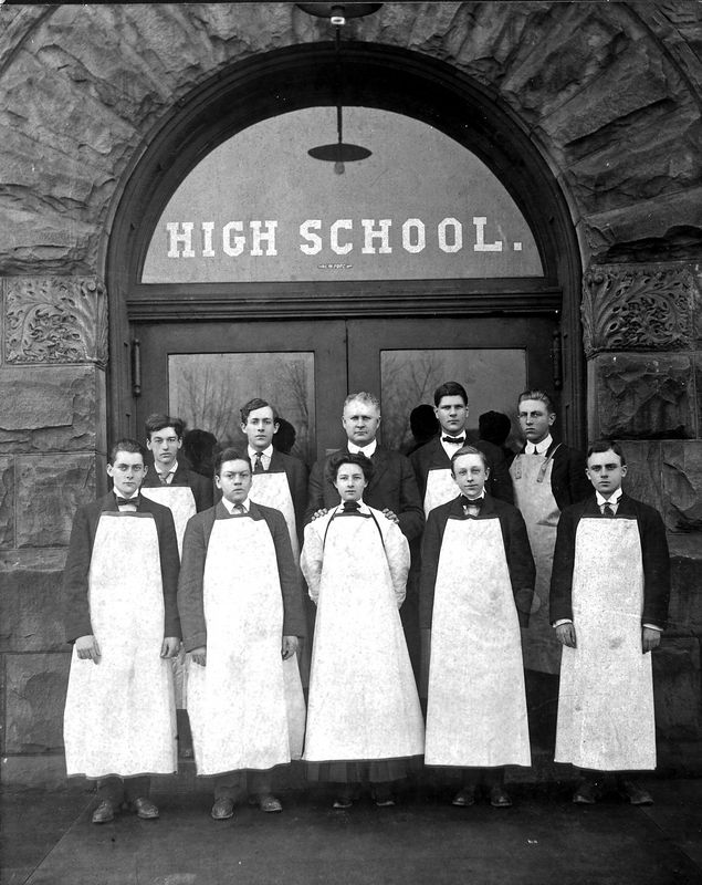Arthur Ogle, front row, extreme left with his Chemistry class in 1909, the year he graduated from East Saint Louis High School, some 10 miles west of Belleville, which had no high school at that date.