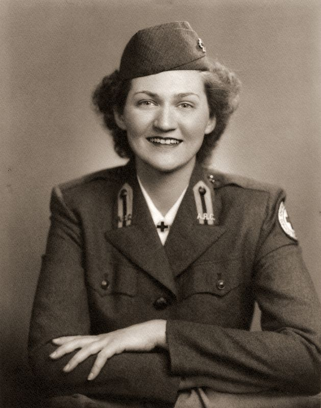 Margery Scott Ogle, daughter and only child of Charles and Mildred in her Red Cross uniform. She was in the Red Cross from 1945 until 1959. She then was employed by the LaSalle National Bank in Chicago, retiring in 1988.