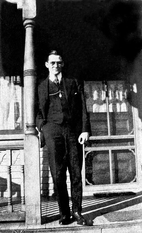 Arthur on the front porch of his home on B Street in Belleville.  He is the proud owner of a Phi Beta Kappa key, which now belongs to grandaughter Sarah Shafer Alcorn, to wear with her own key.