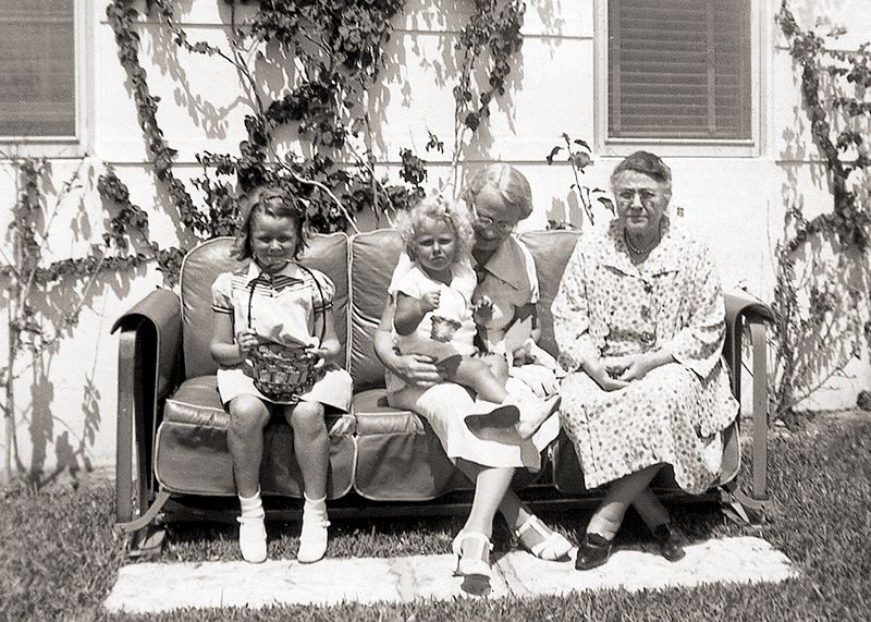 Ottelia visits Florida about 1937! Left to right: Jamie Ogle (1931- ); Carolyn Ogle (1935- ); Alma Knight (1874-1954)), mother of  Arthur Ogle's wife, Ellen; and Ottelia Ogle (1859-1939), in the patio of the Lauderdale Beach Hotel in Ft. Lauderdale, Florida.
