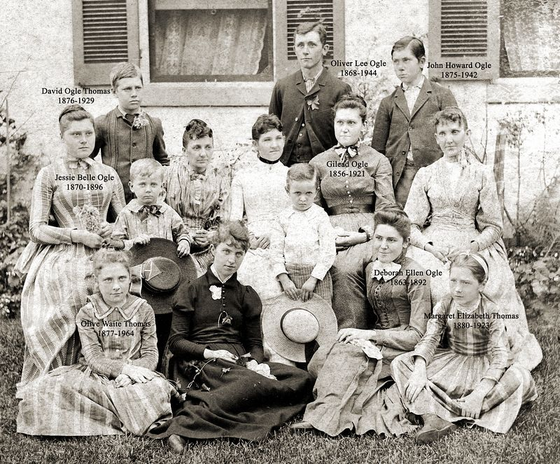 Relatives are visiting the Ogles at Harmony Farm. The year is probably about 1889. The Thomas children were the son and daughters of Mary Ogle and Edward Thomas, and the Ogles were the younger children of David Ogle and Margaret Randleman. The unidentified persons are not known, but it is thought they may be descendants of Elizabeth Ogle Butler, David's younger sister. Deborah Ellen and Helena Butler are the two daughters who lived up to and long after 1889.