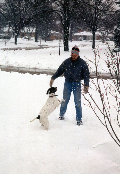 Mike (my husband) and Kahlua (our dog) 1st week of December 1991, Glenview, IL.