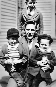 Fred Blackman Gil and Fred Merriam John Blackman standing 1941 25 Suffolk St Rockland ME