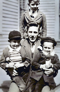 Fred Blackman Gil and Fred Merriam John Blackman standing 1941 25 Suffolk St Rockland ME 2
