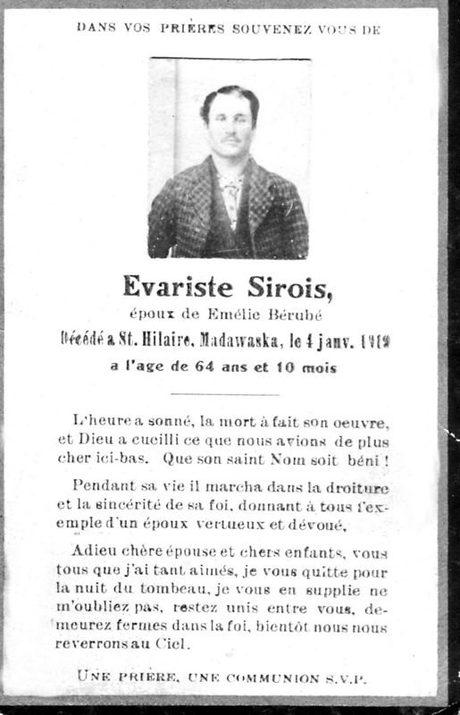 ÉVARISTE SIROIS - My mother's (Yvette Pelletier) maternal grand father's (Carte de décès originale)
