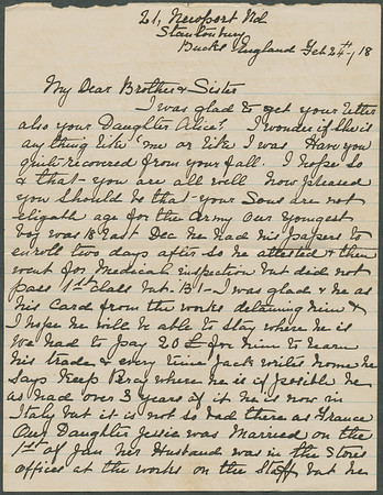 Page 1: 1918 letter from Alice (Pears) Toogood to George and Evelina (Hyde) Pears.