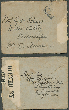 """Envelope: 1918 letter from Alice (Pears) Toogood to George and Evelina (Hyde) Pears. (Note the \""""opened by censor\""""... this was a WWI era letter from England...)"""