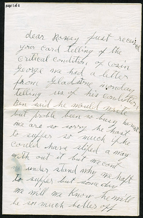 """Page 1; 1935 letter from B L Hyde to Roxie Pears Gean. References to illness of George Pears. This letter is rcvd in Water Valley MS on the date of George's death, Feb 21, 1935.  Funeral home notice is at  <a href=""""http://gean.smugmug.com/gallery/870063"""">http://gean.smugmug.com/gallery/870063</a><br /> <br /> Near as I can figure it out, Ella Gafford Hyde was the wife of Benjamin Leander Hyde, a cousin of Evelina Elizabeth Hyde, <br /> (Mrs. George Pears) who is the mother of Roxie Ann Pears Gean. <br /> Evelina's father was James Benjamin Nolen Hyde, the brother of William Benjamin Hyde, <br /> who is the father of Benjamin Leander Hyde. <br /> William Hyde was the father of James Benjamin Nolen Hyde, and William Benjamin Hyde. <br /> James Benjamin Nolen Hyde named Evelina's brother William just to make us descendants scratch out heads. arrrgh.<br /> Curses on Dr. Jekyll."""