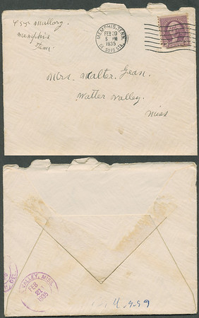 "Envelope; Feb 20 1935 letter from B L Hyde to Roxie Pears Gean. References to illness of George Pears. This letter is rcvd in Water Valley MS on the date of George's death, Feb 21, 1935. Funeral home notice is at  <a href=""http://gean.smugmug.com/gallery/870063"">http://gean.smugmug.com/gallery/870063</a><br /> <br /> Near as I can figure it out, Ella Gafford Hyde was the wife of Benjamin Leander Hyde, a cousin of Evelina Elizabeth Hyde, <br /> (Mrs. George Pears) who is the mother of Roxie Ann Pears Gean. <br /> Evelina's father was James Benjamin Nolen Hyde, the brother of William Benjamin Hyde, <br /> who is the father of Benjamin Leander Hyde. <br /> William Hyde was the father of James Benjamin Nolen Hyde, and William Benjamin Hyde. <br /> James Benjamin Nolen Hyde named Evelina's brother William just to make us descendants scratch out heads. arrrgh.<br /> Curses on Dr. Jekyll."