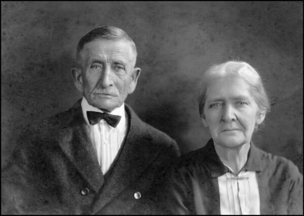 George and Evelina Elizabeth Hyde Pears<br /> <br /> Used in the newspaper accounts of<br /> their Golden Wedding Anniversary.<br /> <br /> The original photo from family archives.<br /> December 1930 (?)