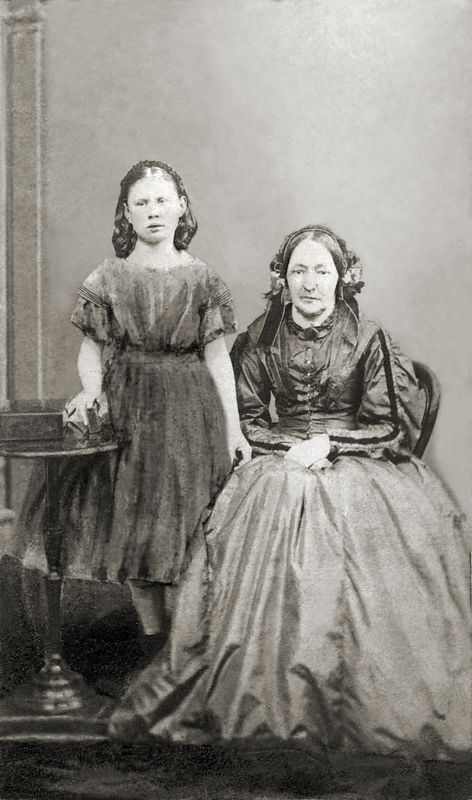 Hilda Bernardina Wilhelmina Petterson, born in 1841, and her mother Fredrika Wilhelmina Edgvist born in 1808, widow of Customs Officer Head Supervisor Hans Wilhelm Fredrik Petterson, born in 1787 and died in 1851. This photo is carte de visite sized (approximately 2 1/2 x 4 inches), and it had been crudely tinted in part. This photo was scanned  and sent by Don Gee.