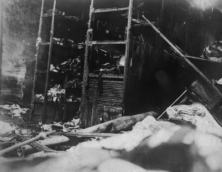 Dated 1899.  On or about October 17, 1899, a fire destroyed the Innes store in Wichita, Kansas.  This may be a photo of the damage.