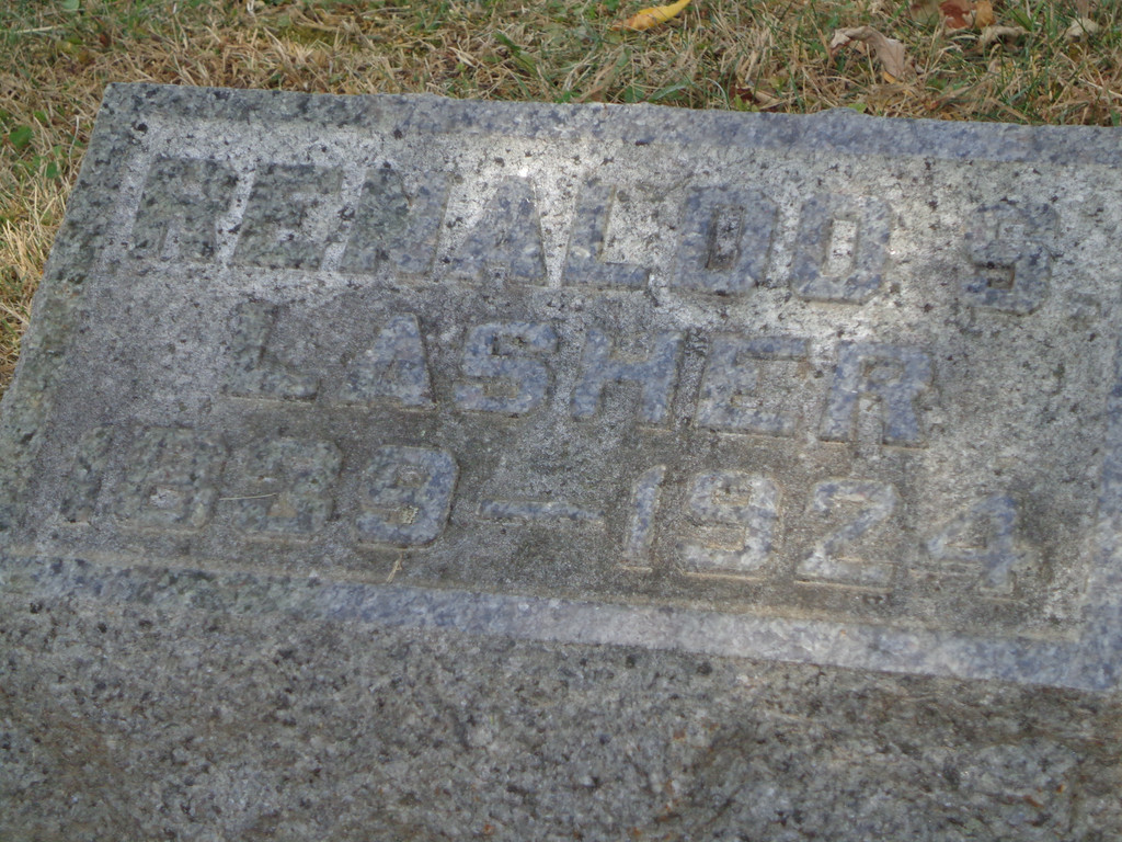 Grove Hill Cemetery, Morrison, Whiteside, Illinois;  July, 2012.  Inscription:<br /> RENALDO S. LASHER<br /> 1839-1924