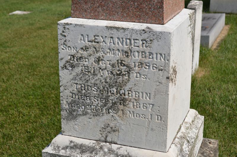 South Elkhorn Cemetery near Milledgeville, Carroll County, Illinois<br /> ALEXANDER SON of A. & M. McKIBBIN DIED OCT. 16, 1856: 1 YR. 28 DS. THOS. McKIBBIN DIED SEPT. 3, 1867: AGED 28 YRS. 4 MOS. 1 D.