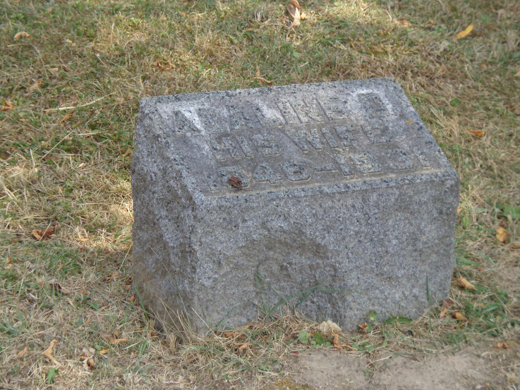 Grove Hill Cemetery, Morrison, Whiteside, Illinois;  July, 2012.  Adaline Lasher's grave marker.  Inscription:<br /> ADALINE D.<br /> HIS WIFE<br /> 1846-1931