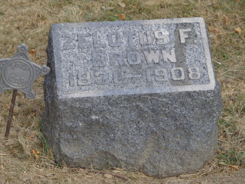 Grove Hill Cemetery, Morrison, Whiteside, Illinois;  July, 2012. Inscription:<br /> ZELOTUS F. BROWN<br /> 1831-1908