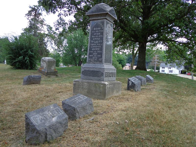 Brown & Lasher family graves at Grove Hill Cemetery, Morrison, Whiteside, Illinois;  July, 2012.