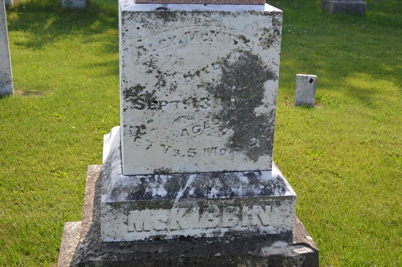 South Elkhorn Cemetery near Milledgeville, Carroll County, Illinois<br /> Detail from McKibbin grave marker:<br /> ALEX. McKIBBIN  DIED  SEPT. 13, 1878  AGED  67 YS. 5 MOS.  ??