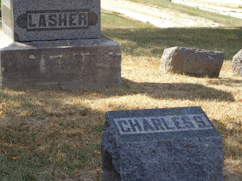 Grove Hill Cemetery, Morrison, Whiteside, Illinois;  July, 2012.  Charles S. Lasher's grave marker.
