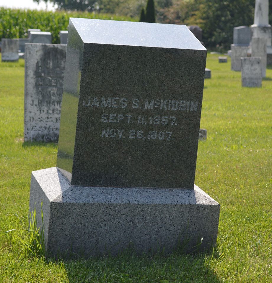 South Elkhorn Cemetery near Milledgeville, Carroll County, Illinois<br /> JAMES S. McKIBBIN SEPT. 11, 1857. NOV. 26, 1887.