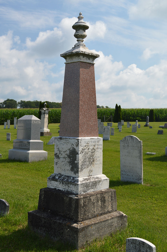South Elkhorn Cemetery near Milledgeville, Carroll County, Illinois<br /> Grave marker for McKibbin family - Alexander, wife Margaret, sons Alexander and Thomas.