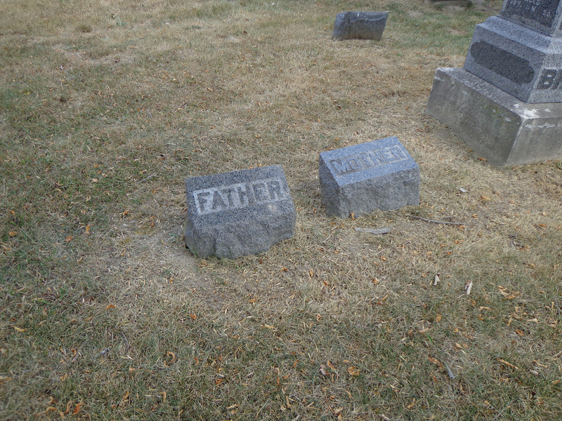 Brown & Lasher family grave markers, Grove Hill Cemetery, Morrison, Whiteside, Illinois;  July, 2012.