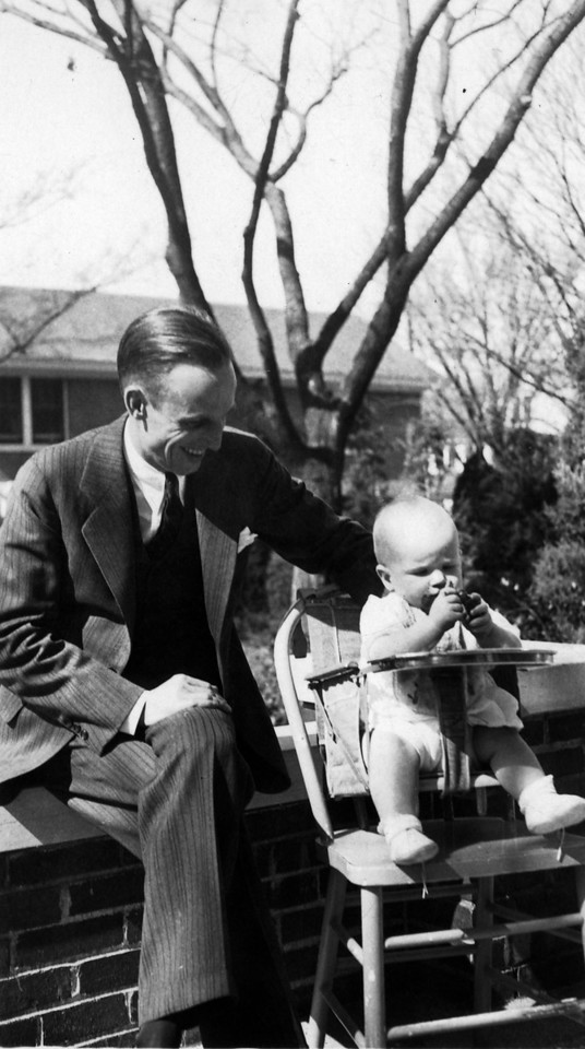 Feb. 24, 1932 (written on back).  Uncle Phil (Phil Phillips) with Lee Phillips III.