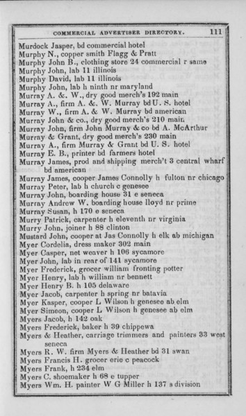 1847-48 Buffalo Commercial Advertiser Directory.  A & W Murray is at 192 Main, John Murray & Co. is at 210 Main, and Murray & Grant is at 230 Main - all dry goods.  There's an A. Murray associated with A & W Murray and another A. Murray associated with Murray & Grant.