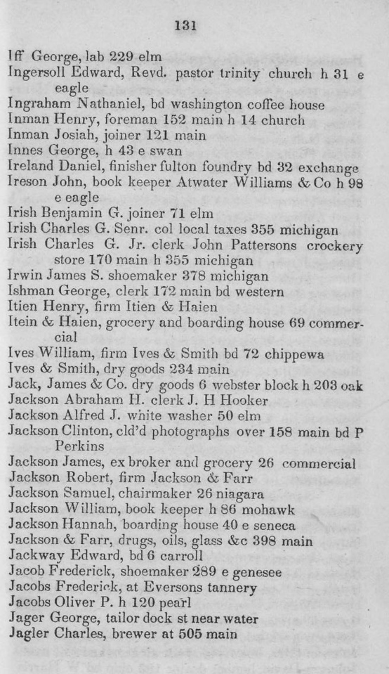 1844 Buffalo City Directory.  George Innes (1794 - 1858/61) and his family arrived October 14, 1843, and here appears for the first time in the Buffalo City Directory, home 43 East Swan.
