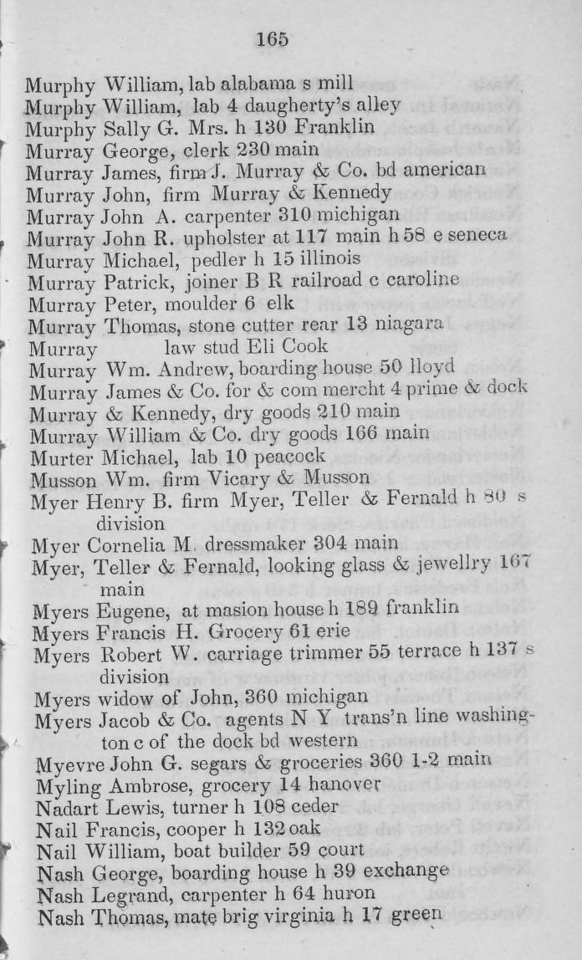 1844 Buffalo City Directory.  John Murray is still with Murray & Kennedy dry goods at 210 Main.  A George Murray is listed as a clerk at 230 Main, Donald Murray's old business address, but no indication what this business is now.  William Murray & Co. dry goods is at 166 Main.
