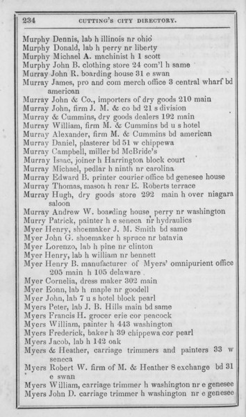 1848-49 Cutting's City Directory.  John Murray & Co. is at 210 Main.  Murray & Cummins is at 192 Main.  John Murray is associated with John Murray & Co.  William and Alexander Murray are associated with Murray & Cummins.