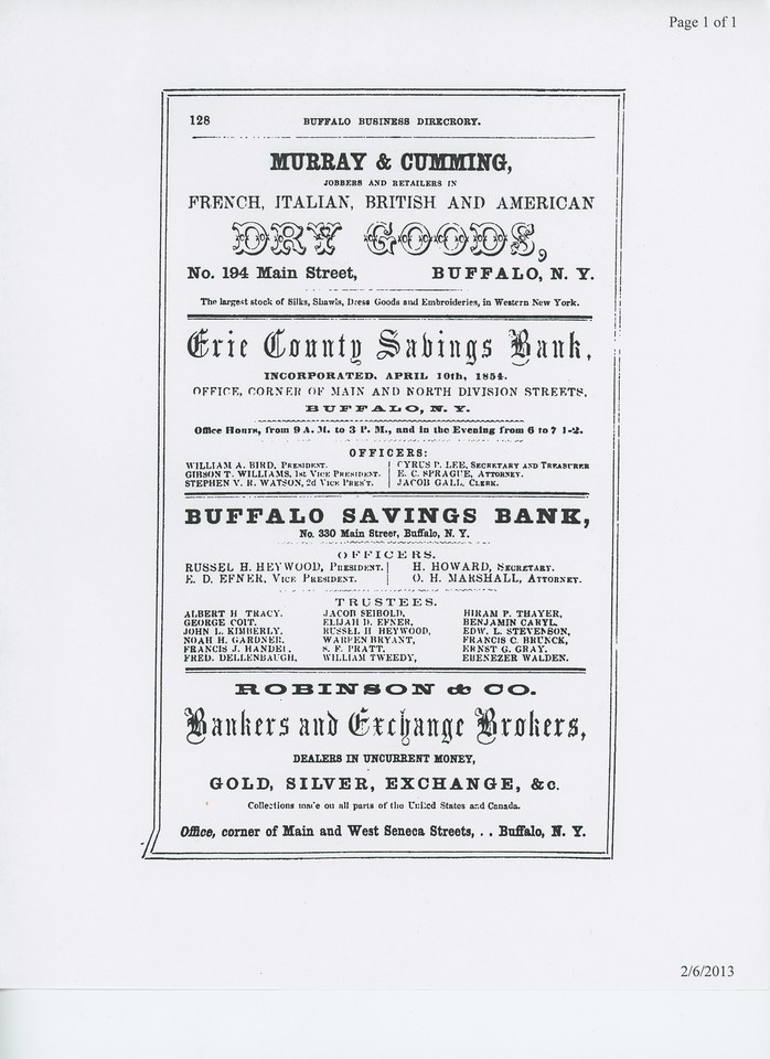 1855 Buffalo Commercial Advertiser Directory.  Display ad for Murray & Cumming.