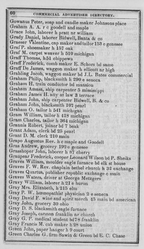 1847-48 Buffalo Commercial Advertisers Directory.  Adam Grant is a clerk boarding 25 Pearl.  D.M. Grant (not sure who this is) is a clerk at 210 Main, the address of John Murray & Co. dry goods.