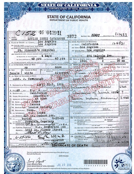 Death Certificate Louise Innes Cavanaugh (1906-1946)