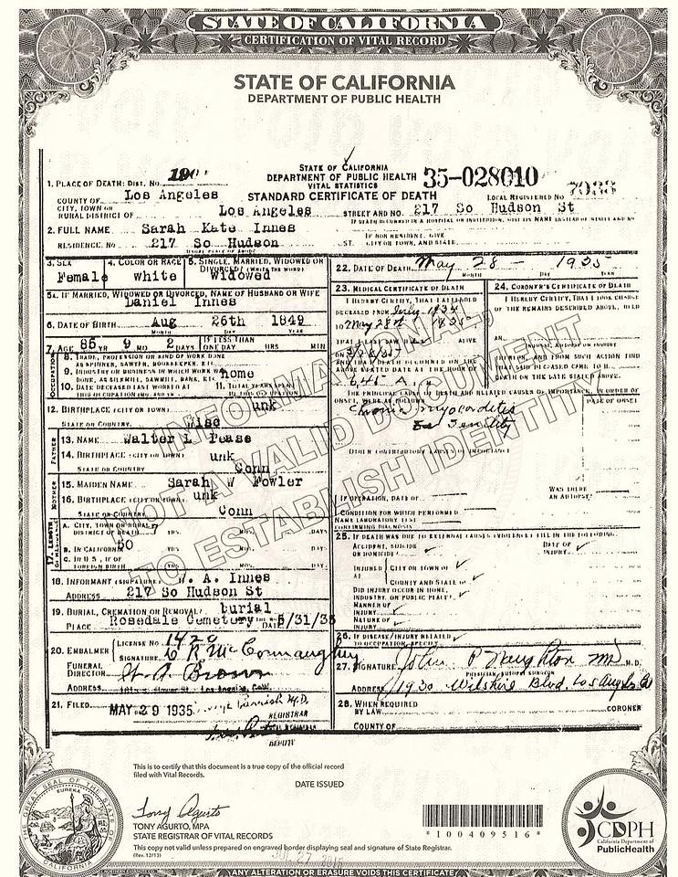 Death Certificate Sarah Katherine Pease Innes (1849-1935)
