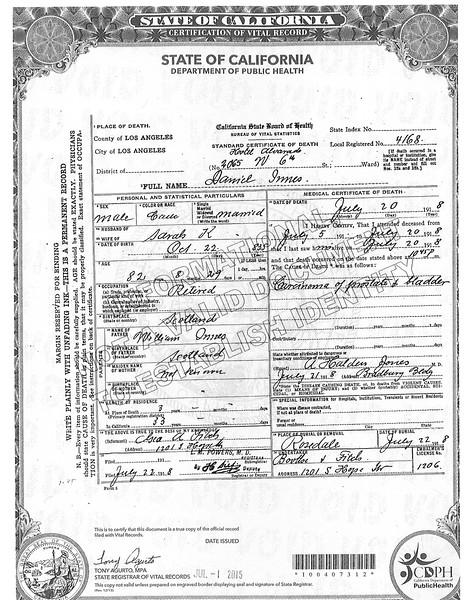 Death Certificate Daniel Innes (1835-1918)