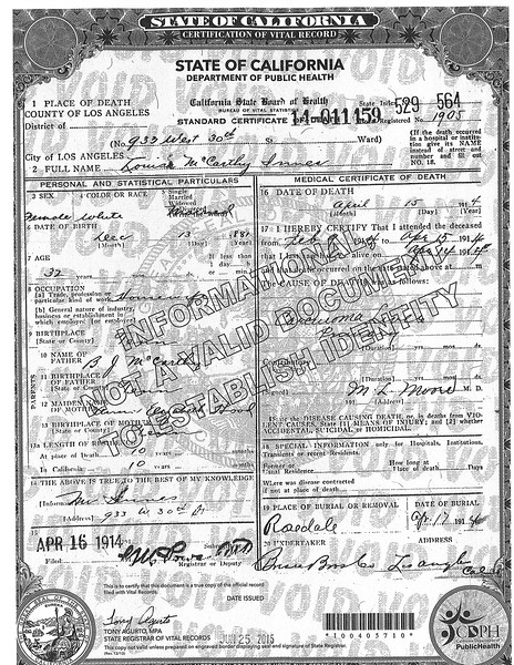 Death Certificate Louise McCarthy Innes (1881-1914)