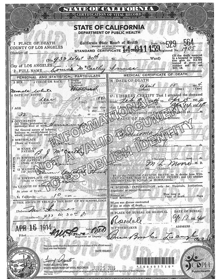 Death Certificate Louise McCarthy Innes (1881-1914)