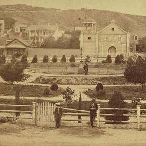 Watkins Plaza Los Angeles ca. 1880. Getty photo.