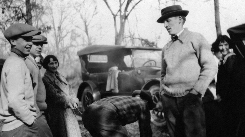 1922.  From left to right, probably:  Lee Eldas Phillips Jr., Mort Stillwell, unknown woman, unknown man bending over, Philip R. Phillips (1903-1992), Winifred Carey.<br /> Written on back:<br /> Can you pick 'em all out?<br /> 1922<br /> Lee Jr.<br /> Mort Stilwell<br /> Phil<br /> Winifred Carey