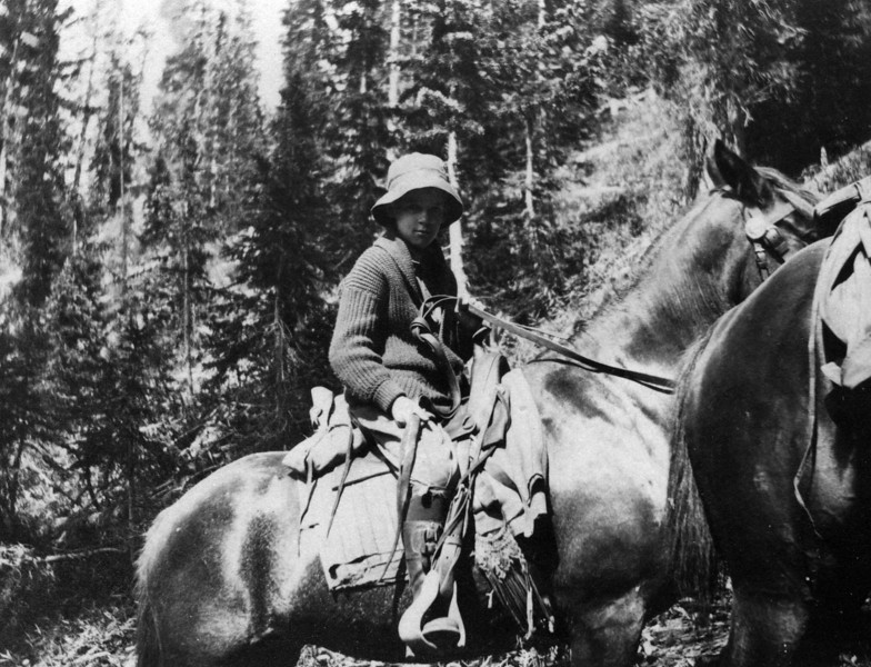 Ca. 1918?  Lee Eldas Phillips Jr. (1905-1979).  Written on back:<br /> LE Phillips Jr.<br /> On the trail coming out on western slope