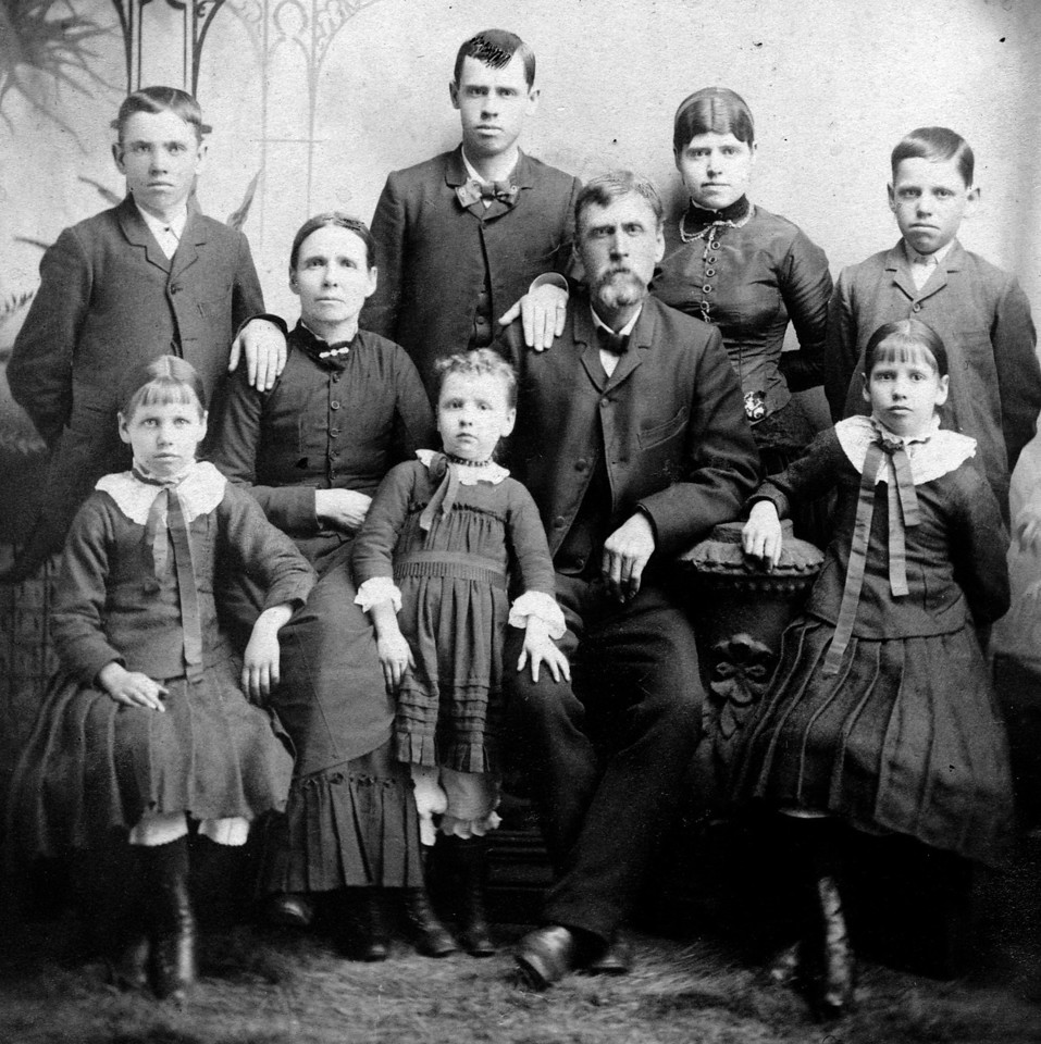 Circa 1885, based on ages of children.  The Carr Family.  Best guess:  Back row, left to right:  Austin Carr, Frank Carr, Dilla Carr, Edward Carr.  Front row, left to right:  Nora Carr, Martha Carr, Icea Carr, James Carr, Eva Carr.
