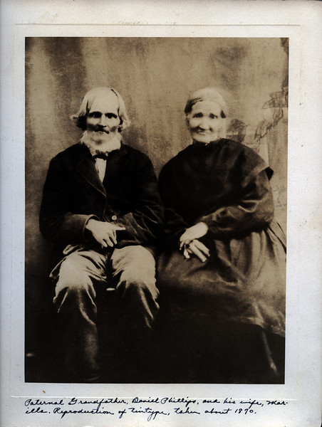 Caption reads:  Paternal Grandfather Daniel Phillips, and his wife, Marilla.  Reproduction of tintype, taken about 1870.